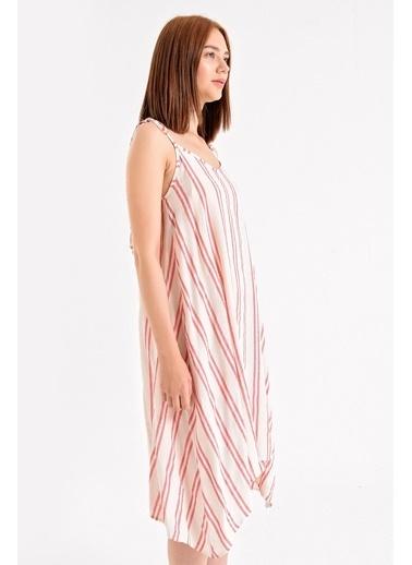 Jument Rahat Kesim Cepli Oversize Asimetrik Salaş Desenli Elbise-Kırmızı Çizgi Kırmızı